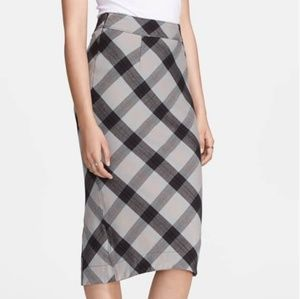 Free People Geometric Precision Plaid Pencil Skirt
